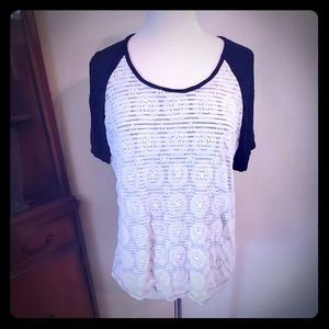 Maurices  xl comfy tee with lace overlay
